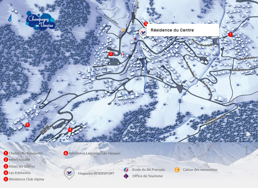 Access map Intersport Champagny en Vanoise